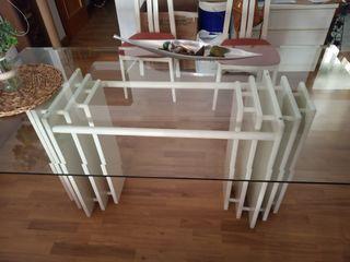 mesa de comedor de cristal