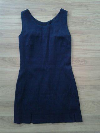 Vestido de tirantes azul marino. Talla pequeña.