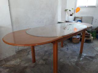 Mesa salón comedor extensible madera cristal