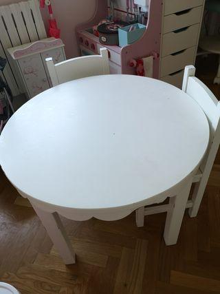 Mesa y 3 sillas madera niños blanca lacada
