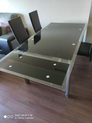 mesa cristal comedor extensible y sillas moderna