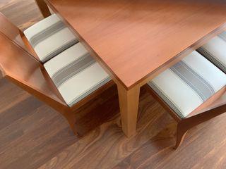 Sillas comedor (8 ud.) de madera y tapizadas