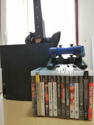 PlayStation 3, mandos, juegos y guitarra