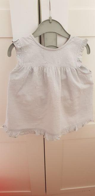 Blusa y culetin niña plumeti gris claro marca m&h