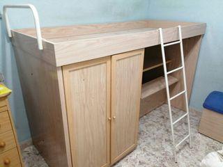 Litera niño con armario y escritorio