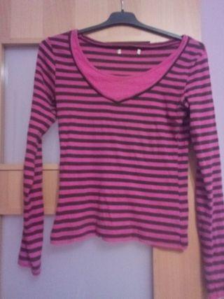 Camiseta rayas rosa Talla M