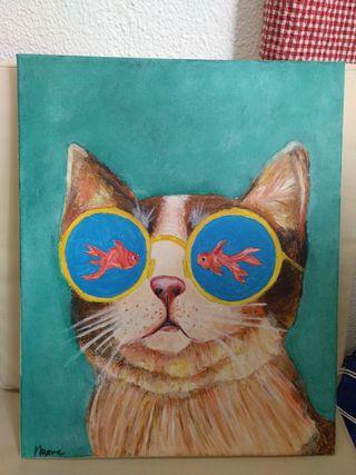 Cuadro retrato pop Gato