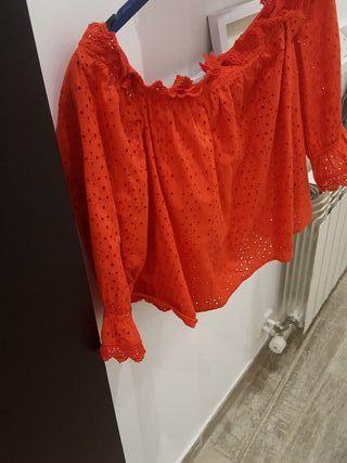blusa roja talla L