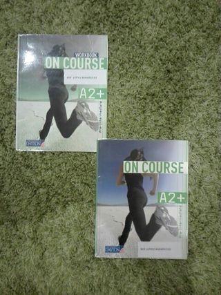 libro y cuaderno de inglés on course A2+