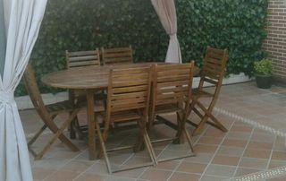 conjunto mesa y sillas madera exterior 1,70x1,10