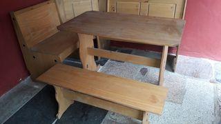 conjunto mesa para 6, asiento rinconera y vitrina