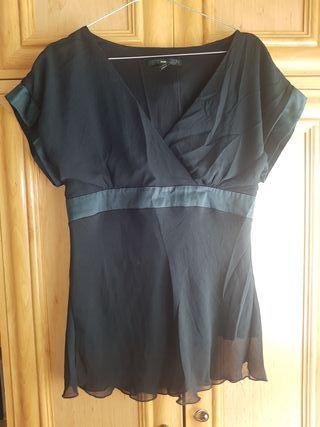 blusa seda negro