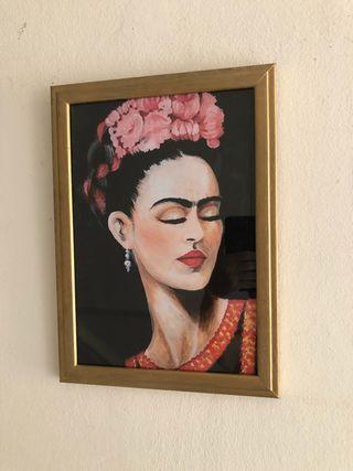 Cuadro dorado Frida Kahlo 24 x 34