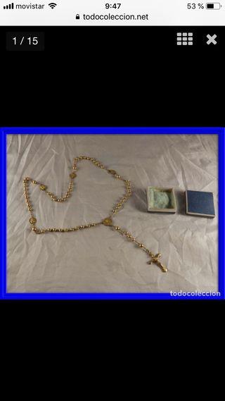 Rosario de plata dorada con imágenes