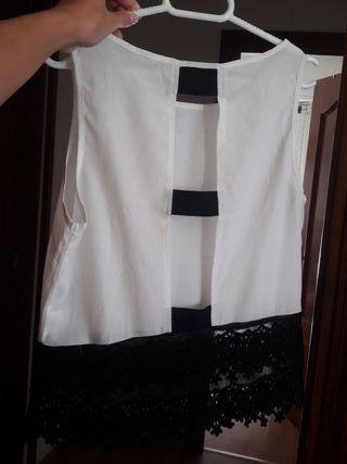 Blusa blanca y negra mujer