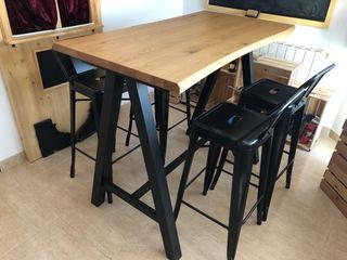 Conjunto de mesa alta y taburetes