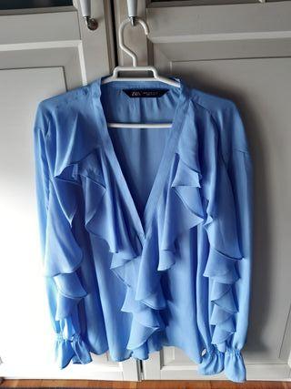 Blusa volantes Zara Azul