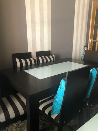 Mesa centro y sillas madera wengue