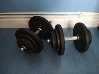 Mancuernas 20 kg cada una y Banco musculación