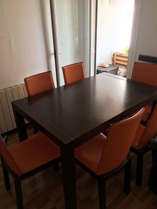 Mesa comedor madera + 6 sillas