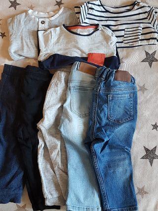 Lote ropa niño t 9-12 meses pantalones y camisetas