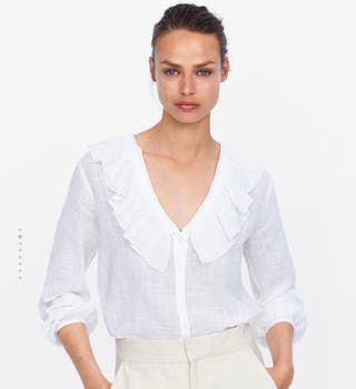 Blusa blanca volante