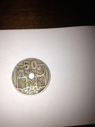 Moneda 50 céntimos de peseta año 1949.