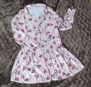vestido corto manga larga estampado