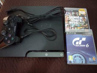 PS3 250GB con dos juegos (GTA 5 y GT 6)