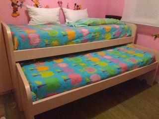 Dormitorio 2 camas y armario esquinero roble/blanc