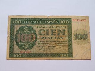 100 pesetas 1936 Burgos