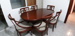 mesa comedor extensible con 6 sillas