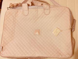 Maleta bebé rosa acolchada cuadro Vichy nueva