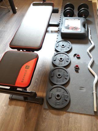 banco de musculación y pesas mancuernas