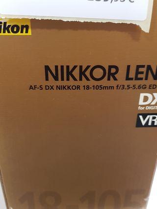 objetivo nikon dx 18-105mm en caja