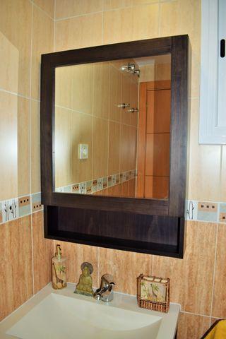 Espejo de baño de madera tipo camerino