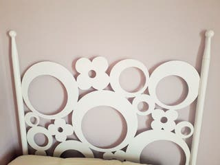 Cabecero para cama de 105 cm de forja blanca