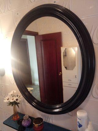 Conjunto accesorios y espejo en madera para baño