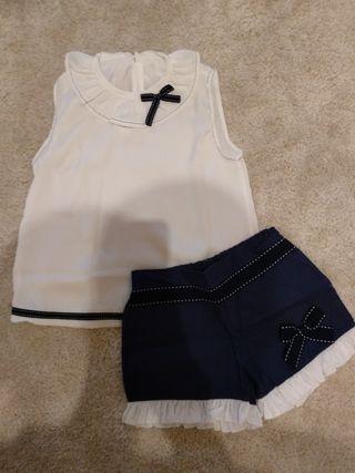 Conjunto short y blusa.Talla 6