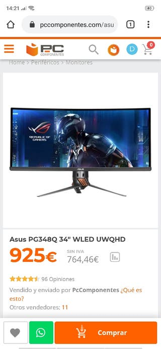 Monitor Asus 34 Ultrawide PG348Q