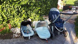 capazo, silla y maxicosi de bebé confort
