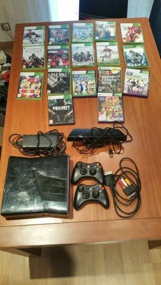Xbox 360+2 mandos+Kinect+17 juegos