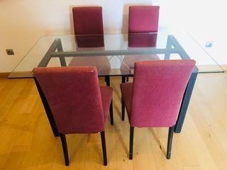 Mesa comedor de cristal + 4 sillas