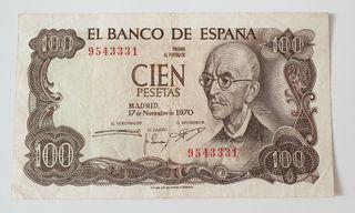 Billete de 100 pesetas de 1970 sin serie