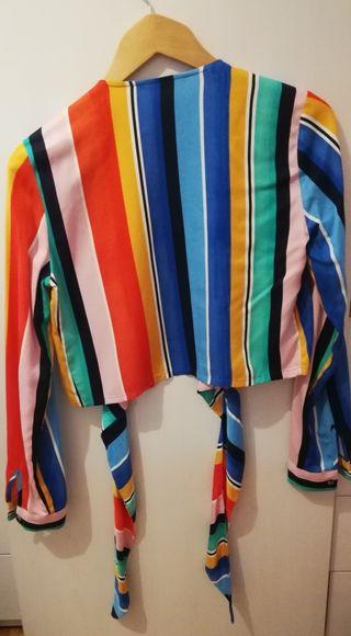 blusa rayas stradivarius talla s