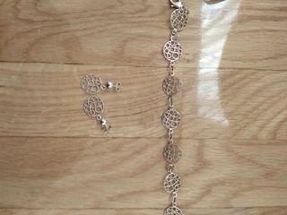 Conjunto de plata nuevo,pendientes y pulsera