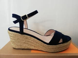 Zapatos de esparto azul marino n37