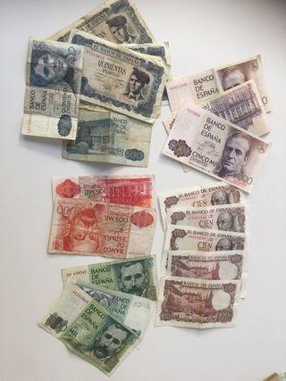 Billetes pesetas antiguos de 5000 a 100 pesetas