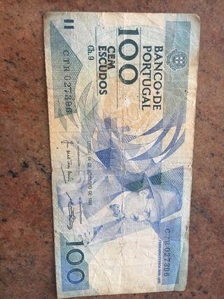 Billete coleccionista 100 escudos Portugal