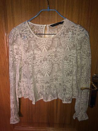 Blusa zara blanca estampado